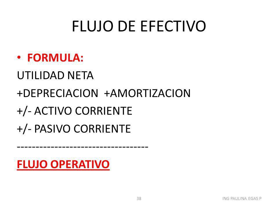 FLUJO DE EFECTIVO FORMULA: UTILIDAD NETA +DEPRECIACION +AMORTIZACION