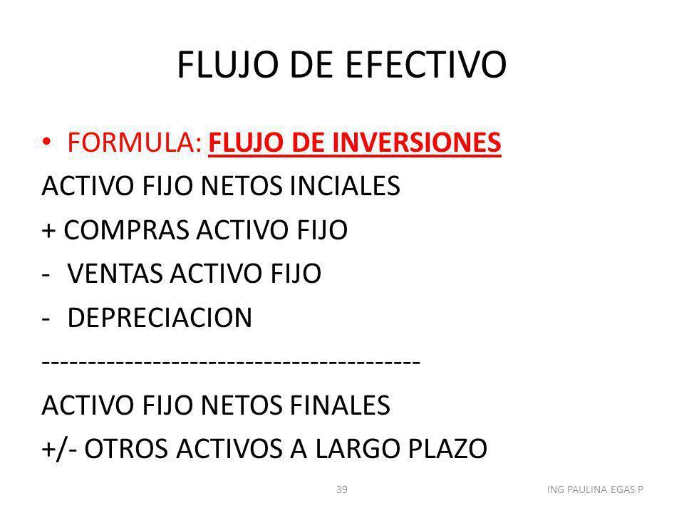 FLUJO DE EFECTIVO FORMULA: FLUJO DE INVERSIONES
