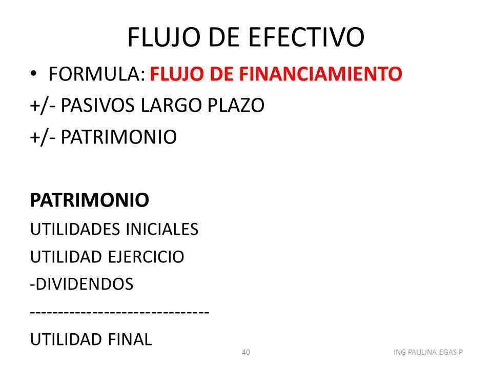 FLUJO DE EFECTIVO FORMULA: FLUJO DE FINANCIAMIENTO
