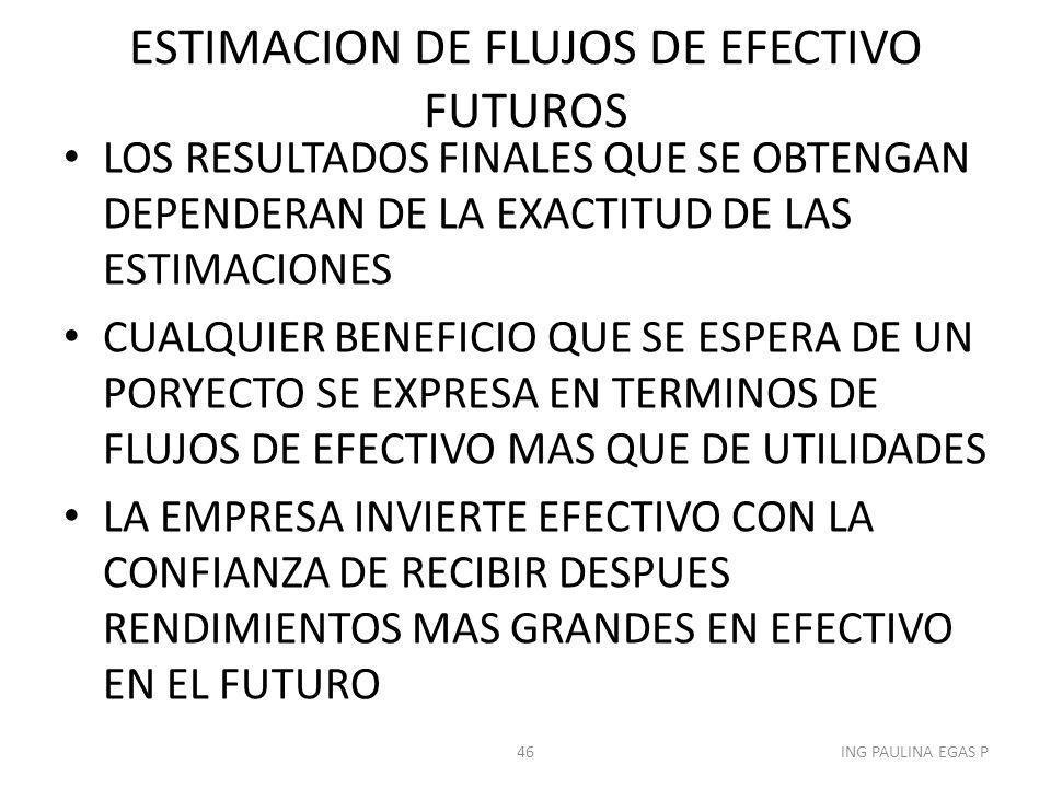 ESTIMACION DE FLUJOS DE EFECTIVO FUTUROS