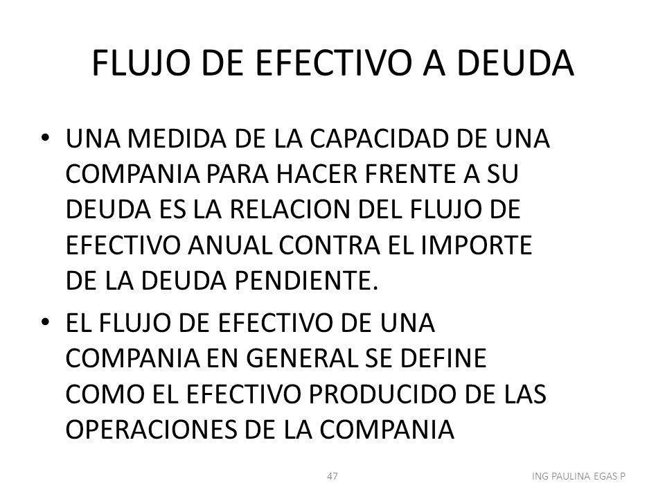 FLUJO DE EFECTIVO A DEUDA