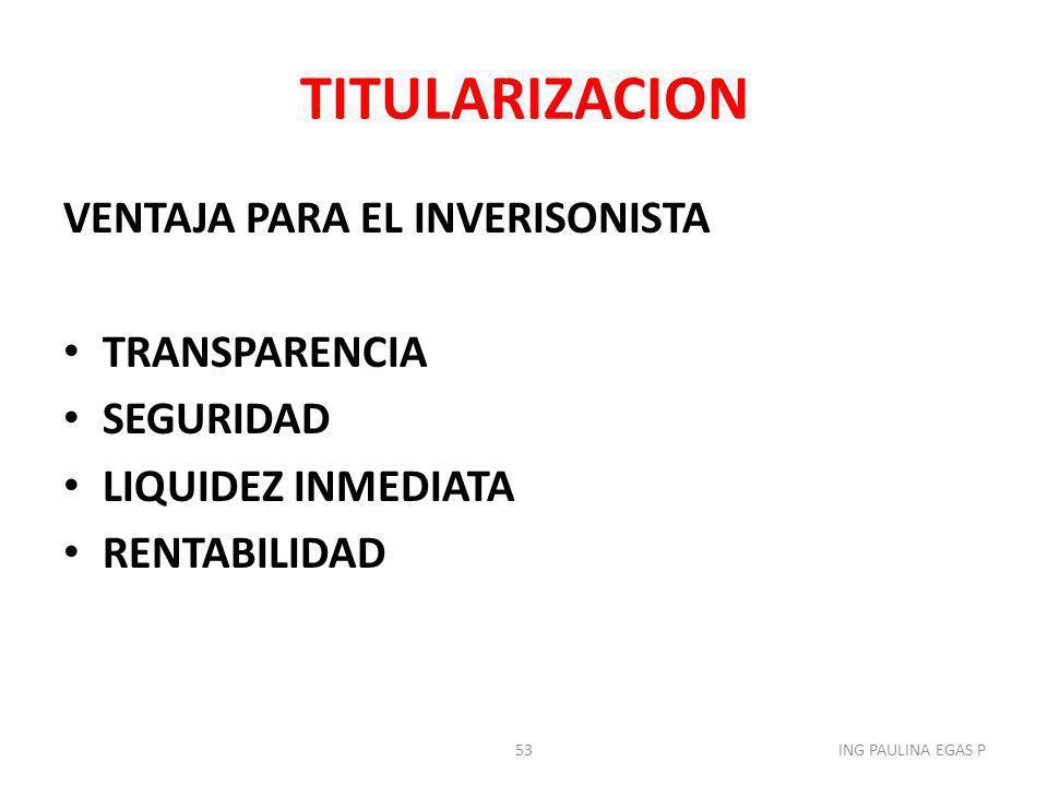 TITULARIZACION VENTAJA PARA EL INVERISONISTA TRANSPARENCIA SEGURIDAD