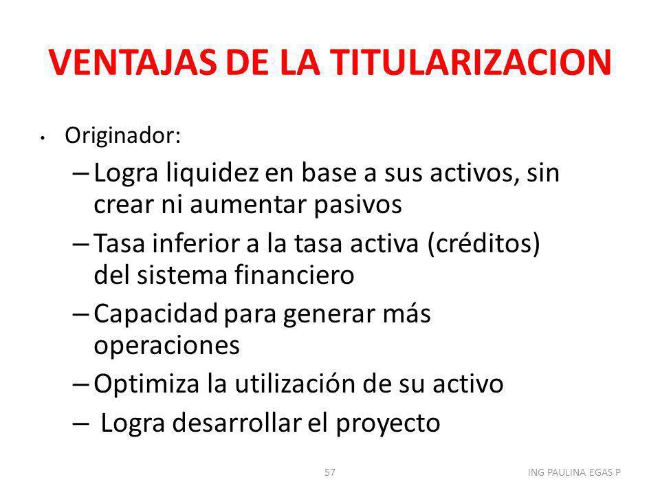 VENTAJAS DE LA TITULARIZACION