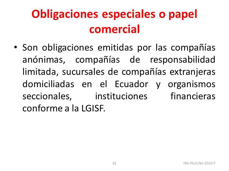 Obligaciones especiales o papel comercial
