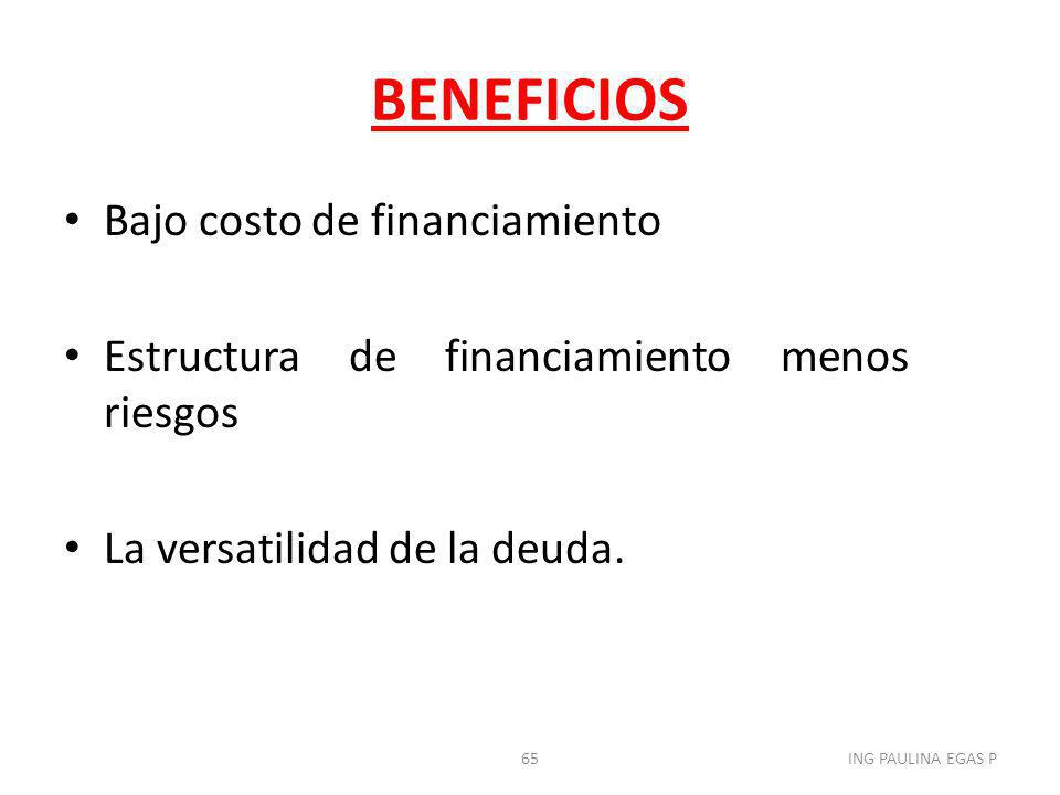 BENEFICIOS Bajo costo de financiamiento