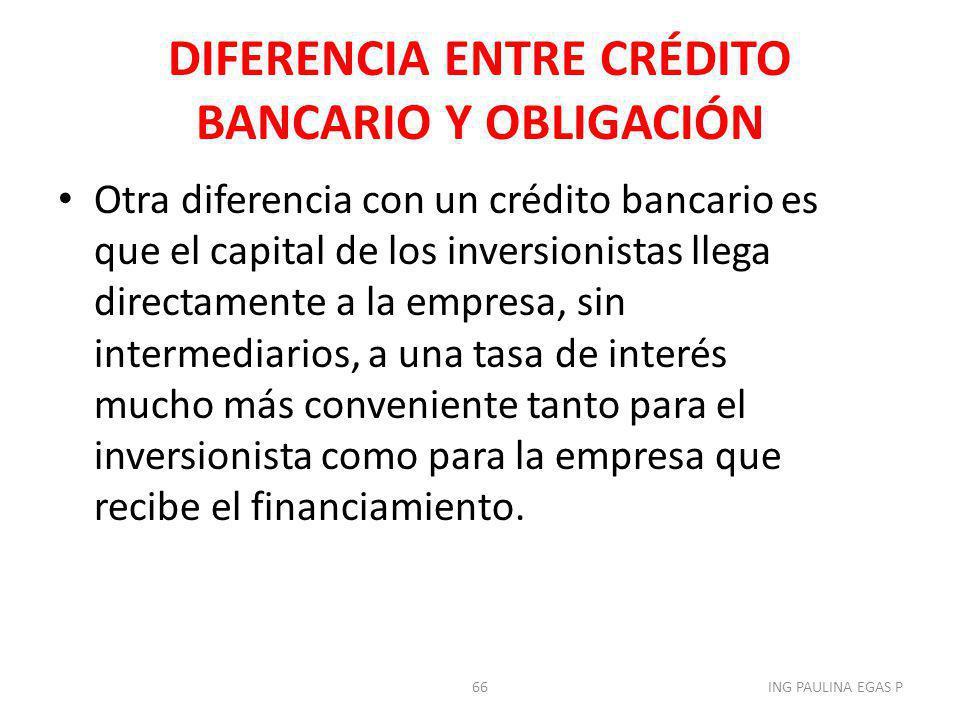 DIFERENCIA ENTRE CRÉDITO BANCARIO Y OBLIGACIÓN