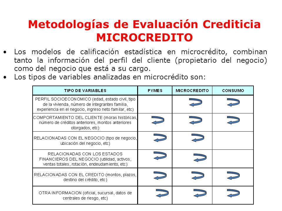 Metodologías de Evaluación Crediticia MICROCREDITO