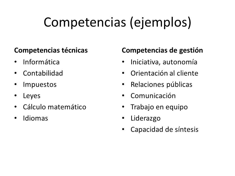 Competencias (ejemplos)