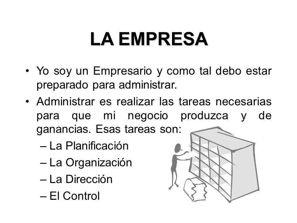 LA EMPRESA Yo soy un Empresario y como tal debo estar preparado para administrar.
