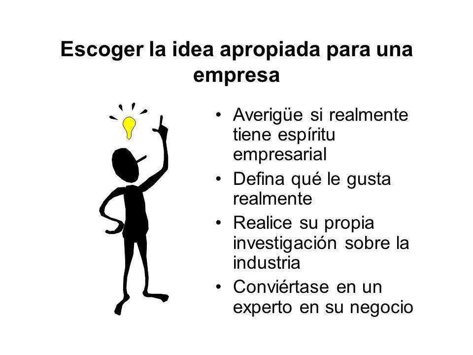 Escoger la idea apropiada para una empresa
