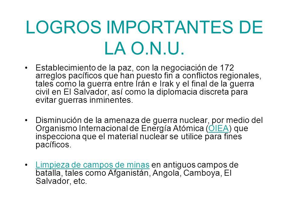 LOGROS IMPORTANTES DE LA O.N.U.