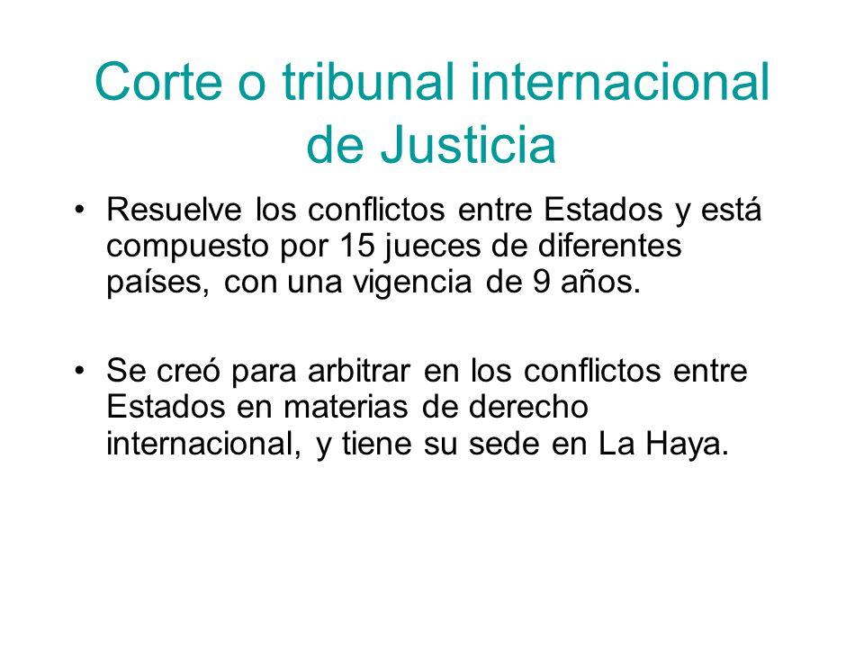 Corte o tribunal internacional de Justicia