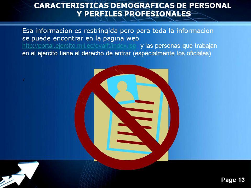 CARACTERISTICAS DEMOGRAFICAS DE PERSONAL Y PERFILES PROFESIONALES