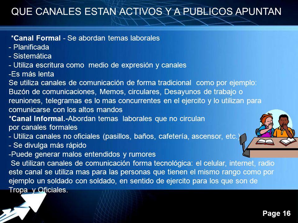 QUE CANALES ESTAN ACTIVOS Y A PUBLICOS APUNTAN