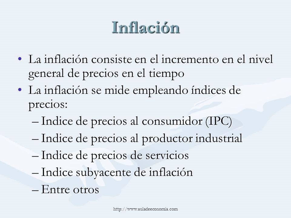 Inflación La inflación consiste en el incremento en el nivel general de precios en el tiempo. La inflación se mide empleando índices de precios: