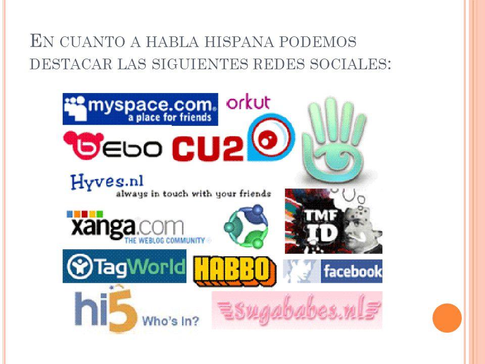 En cuanto a habla hispana podemos destacar las siguientes redes sociales: