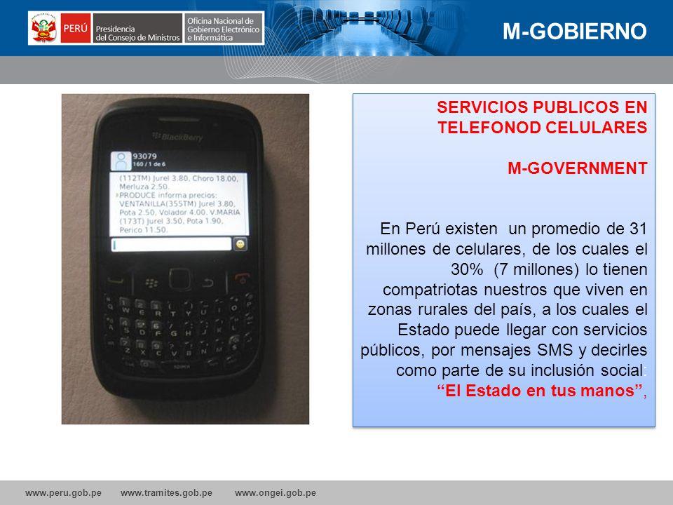 M-GOBIERNO SERVICIOS PUBLICOS EN TELEFONOD CELULARES M-GOVERNMENT