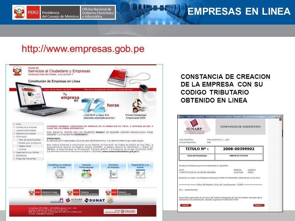 EMPRESAS EN LINEA http://www.empresas.gob.pe