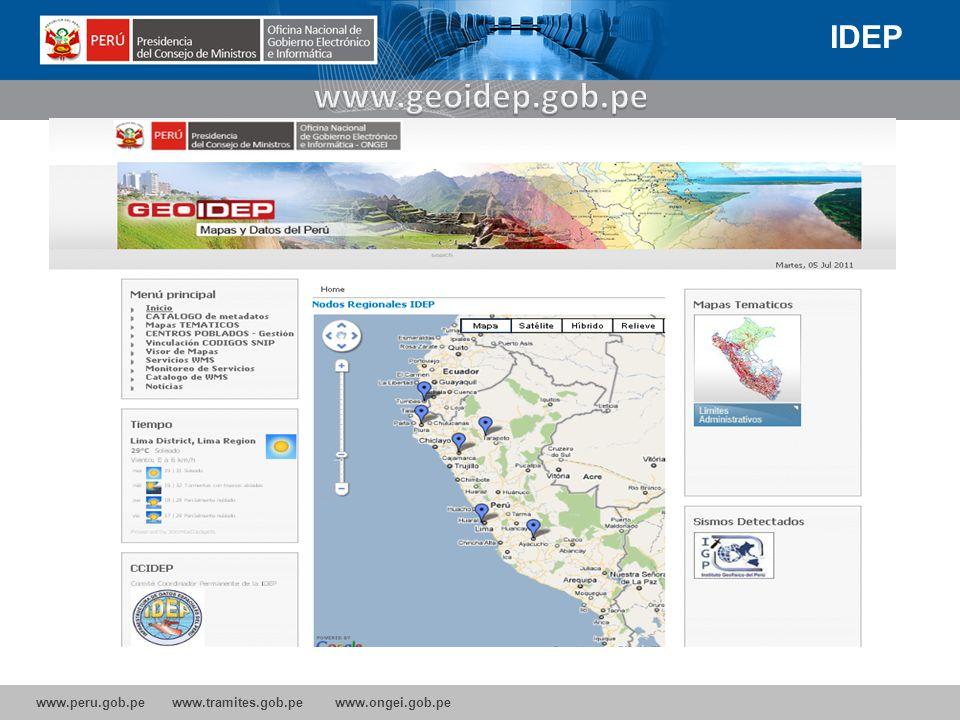 IDEP www.geoidep.gob.pe