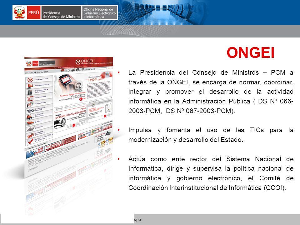 ONGEI Oficina Nacional de Gobierno Electrónico e Informática.