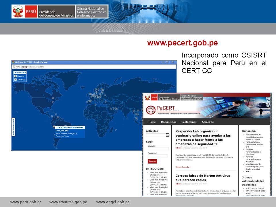 www.pecert.gob.pe Incorporado como CSISRT Nacional para Perù en el CERT CC 21