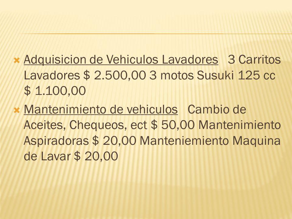 Adquisicion de Vehiculos Lavadores 3 Carritos Lavadores $ 2