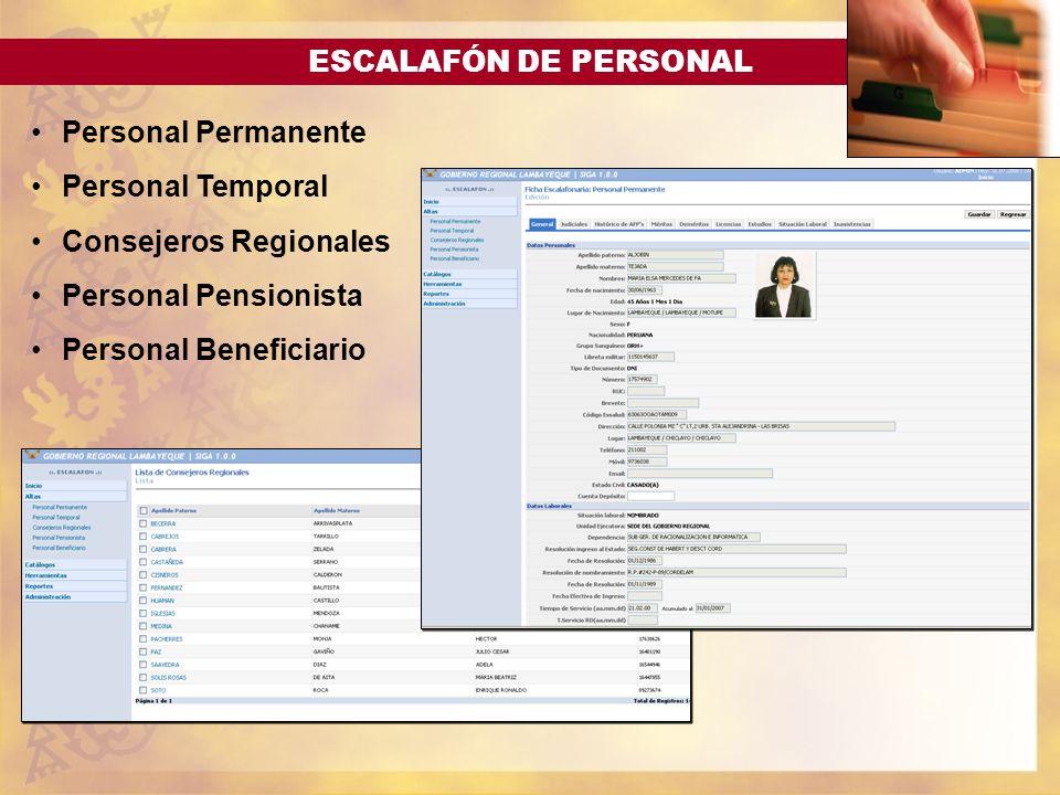 ESCALAFÓN DE PERSONAL Personal Permanente Personal Temporal Consejeros Regionales Personal Pensionista