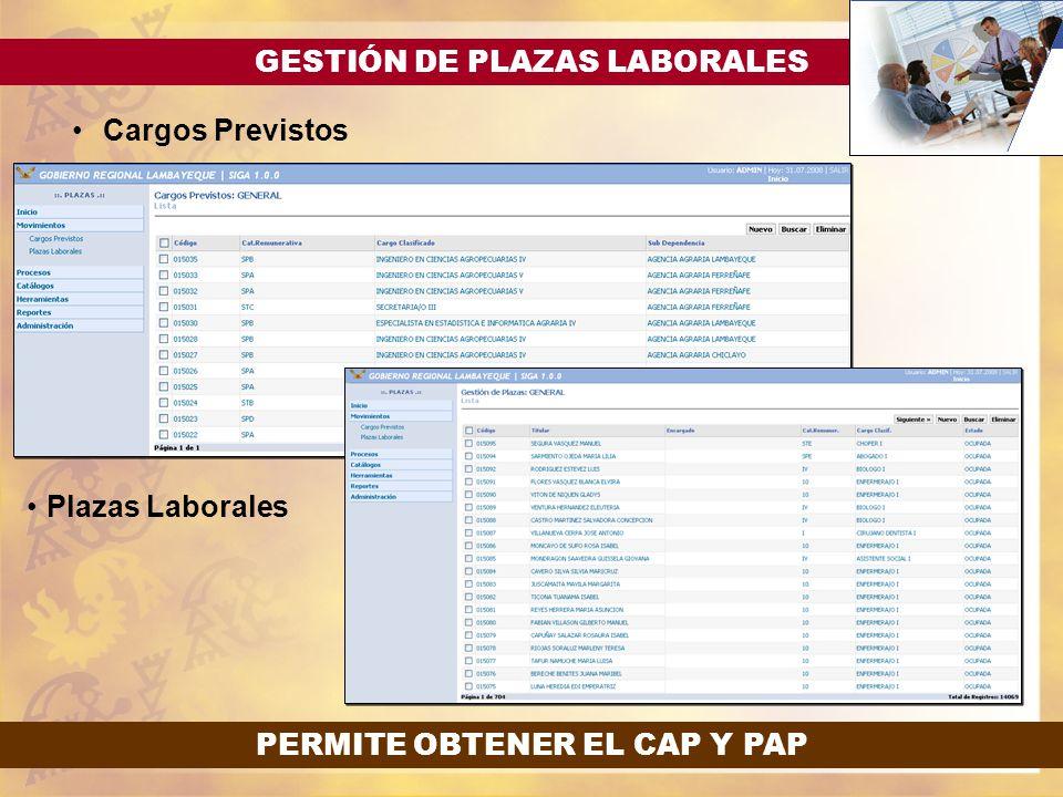 GESTIÓN DE PLAZAS LABORALES