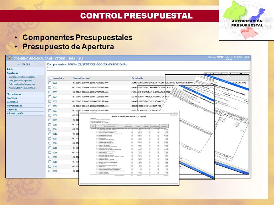 CONTROL PRESUPUESTAL Componentes Presupuestales Presupuesto de Apertura