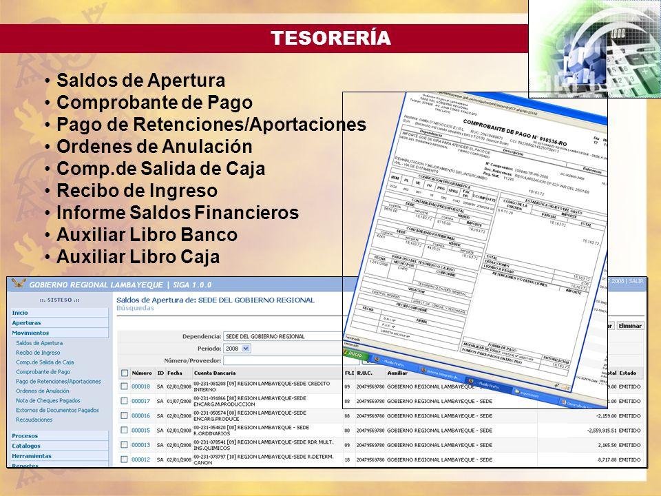 TESORERÍA Saldos de Apertura Comprobante de Pago Pago de Retenciones/Aportaciones Ordenes de Anulación