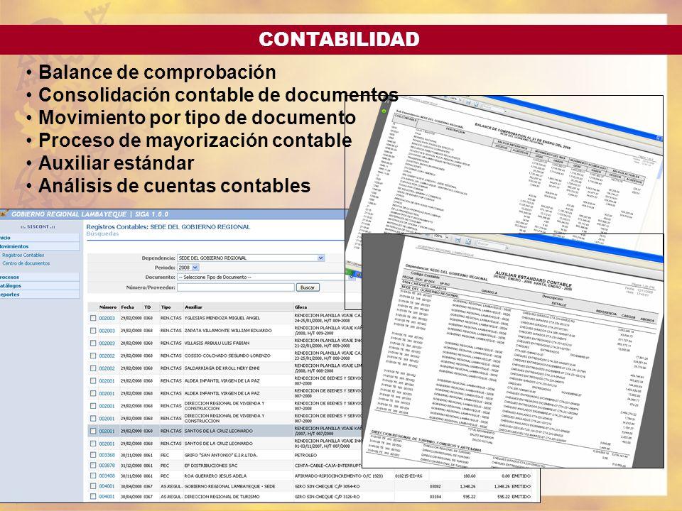 CONTABILIDAD Balance de comprobación. Consolidación contable de documentos. Movimiento por tipo de documento.