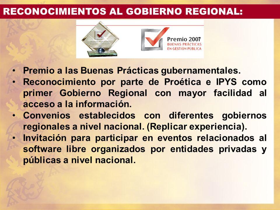 RECONOCIMIENTOS AL GOBIERNO REGIONAL: