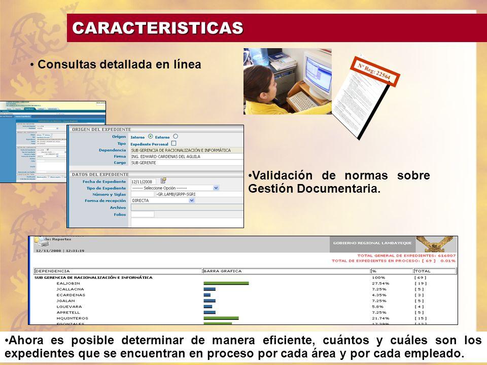 CARACTERISTICAS Consultas detallada en línea