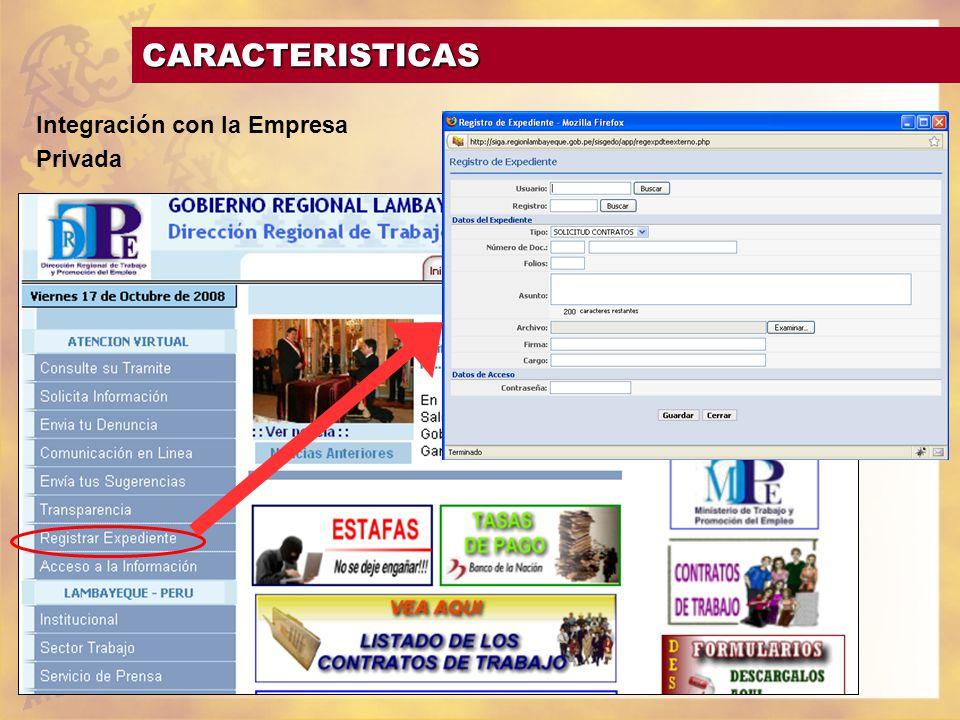 CARACTERISTICAS Integración con la Empresa Privada