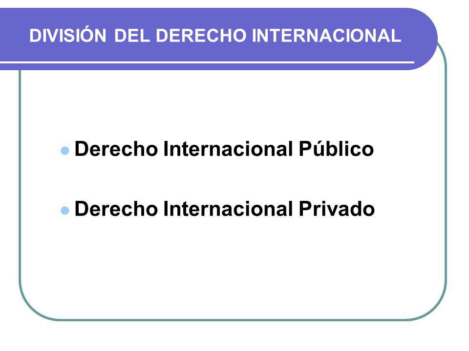 DIVISIÓN DEL DERECHO INTERNACIONAL
