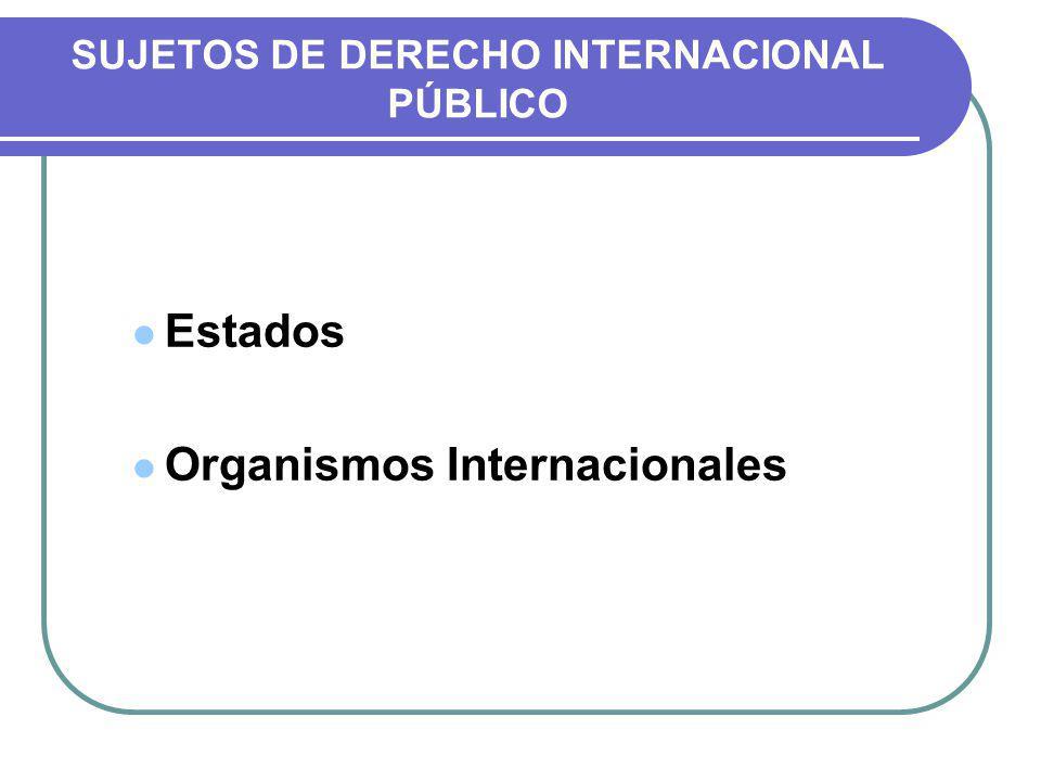 SUJETOS DE DERECHO INTERNACIONAL PÚBLICO