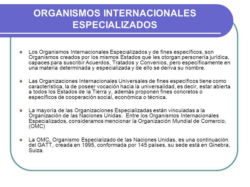 ORGANISMOS INTERNACIONALES ESPECIALIZADOS