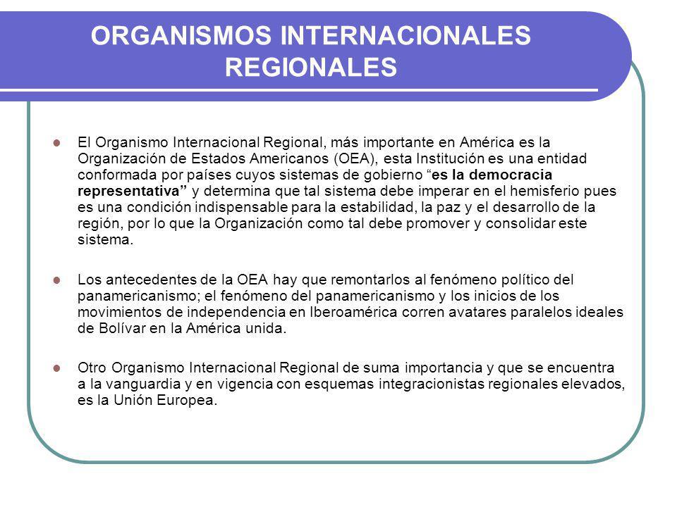 ORGANISMOS INTERNACIONALES REGIONALES