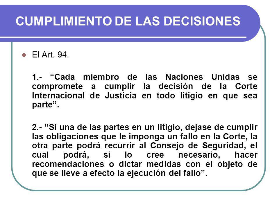 CUMPLIMIENTO DE LAS DECISIONES