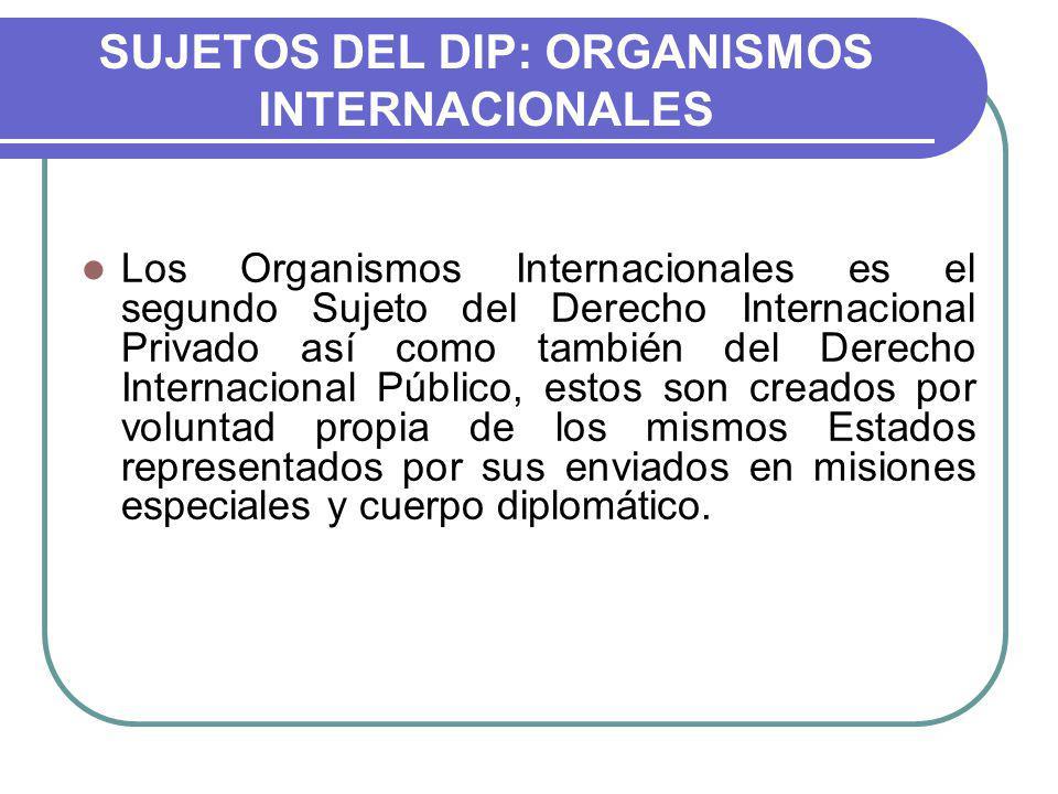 SUJETOS DEL DIP: ORGANISMOS INTERNACIONALES