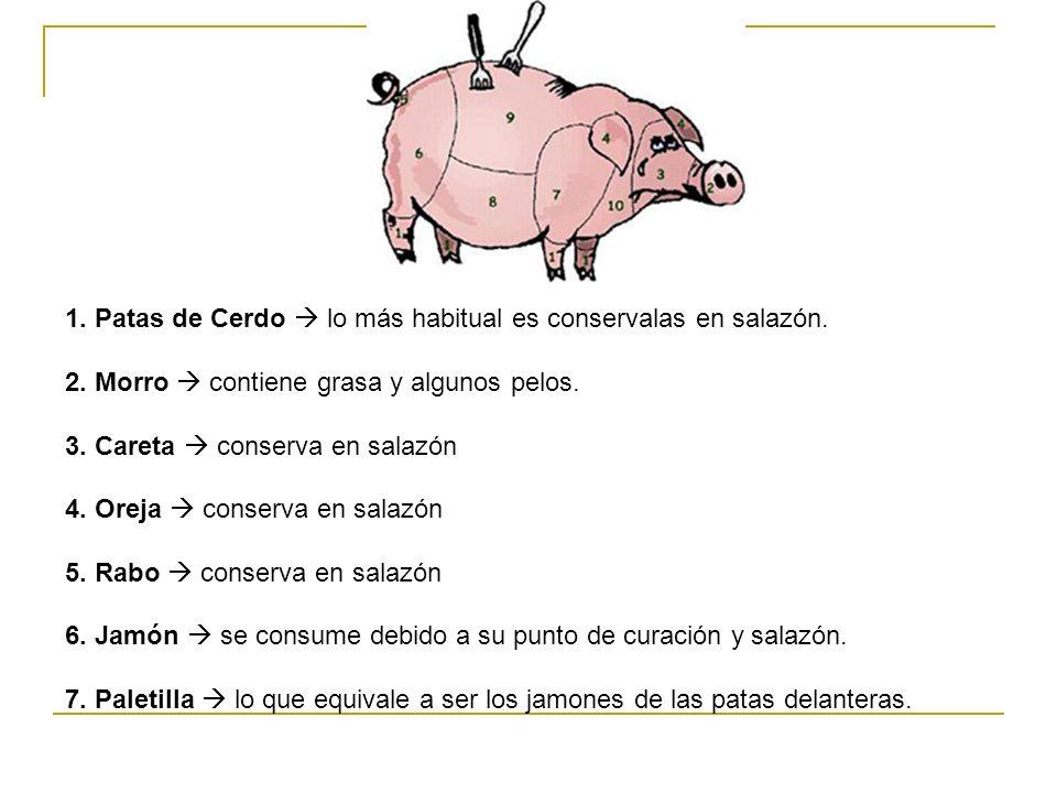 1. Patas de Cerdo  lo más habitual es conservalas en salazón.