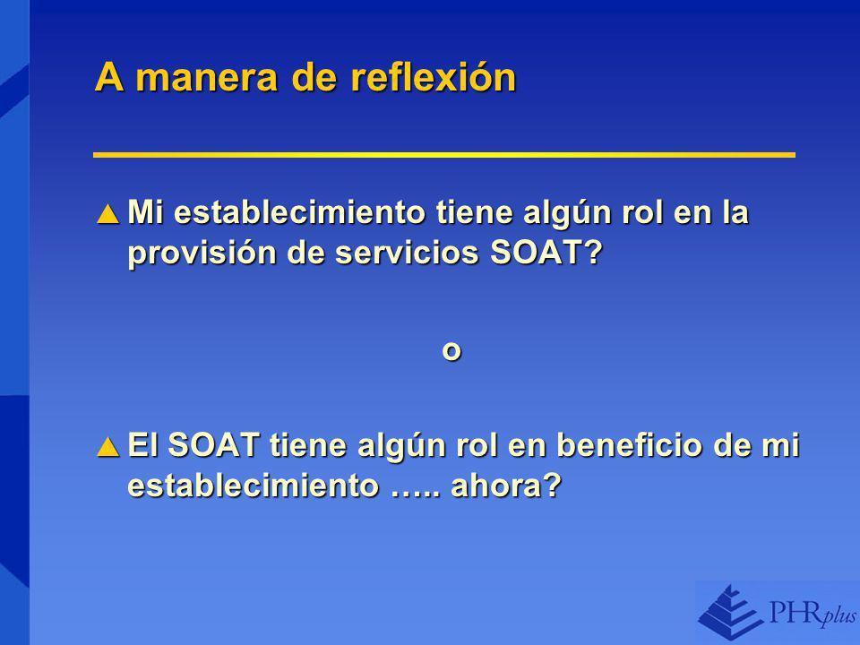 A manera de reflexión Mi establecimiento tiene algún rol en la provisión de servicios SOAT o.