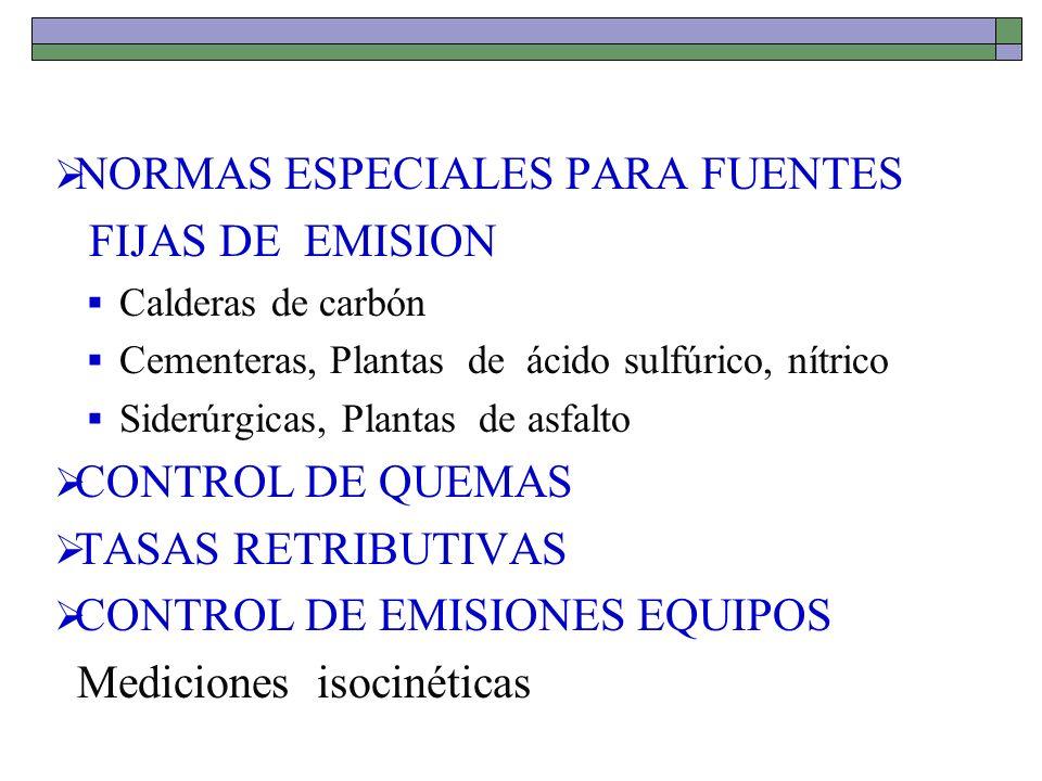 NORMAS ESPECIALES PARA FUENTES FIJAS DE EMISION