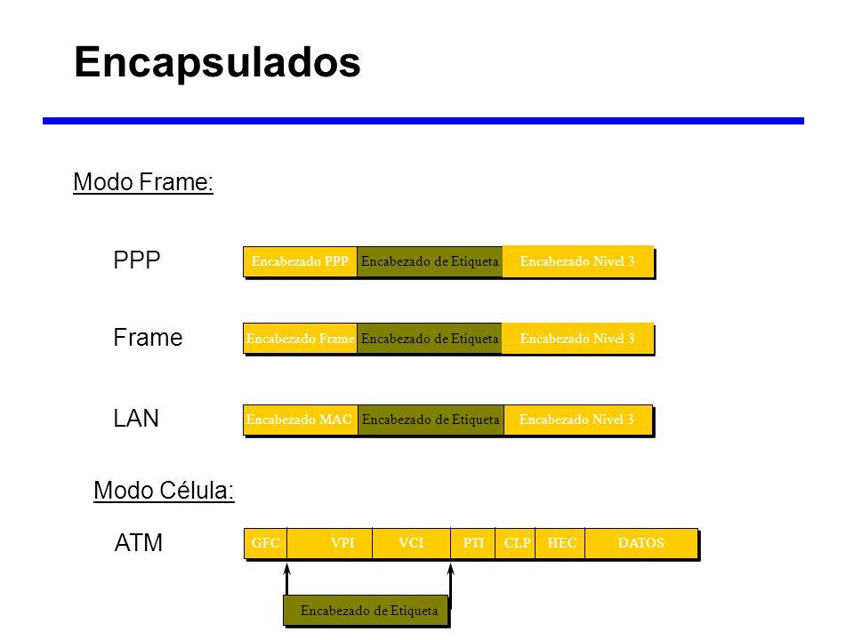 Encapsulados b b Modo Frame: PPP Frame LAN Modo Célula: ATM