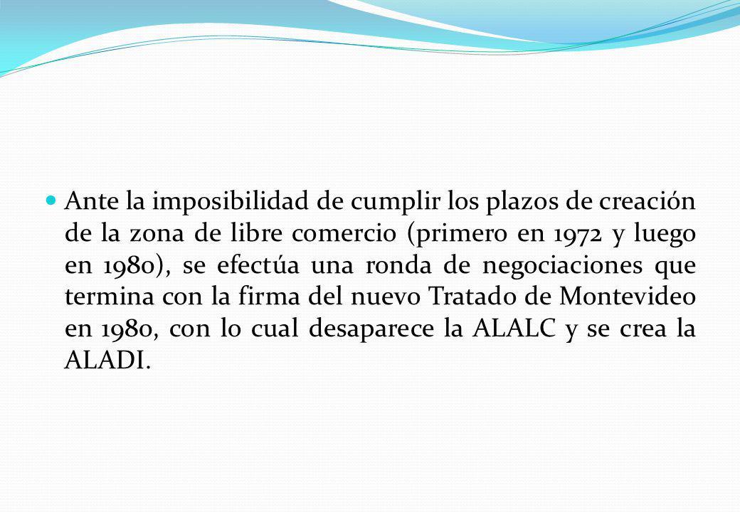 Ante la imposibilidad de cumplir los plazos de creación de la zona de libre comercio (primero en 1972 y luego en 1980), se efectúa una ronda de negociaciones que termina con la firma del nuevo Tratado de Montevideo en 1980, con lo cual desaparece la ALALC y se crea la ALADI.