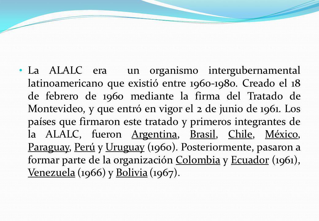 La ALALC era un organismo intergubernamental latinoamericano que existió entre 1960-1980.