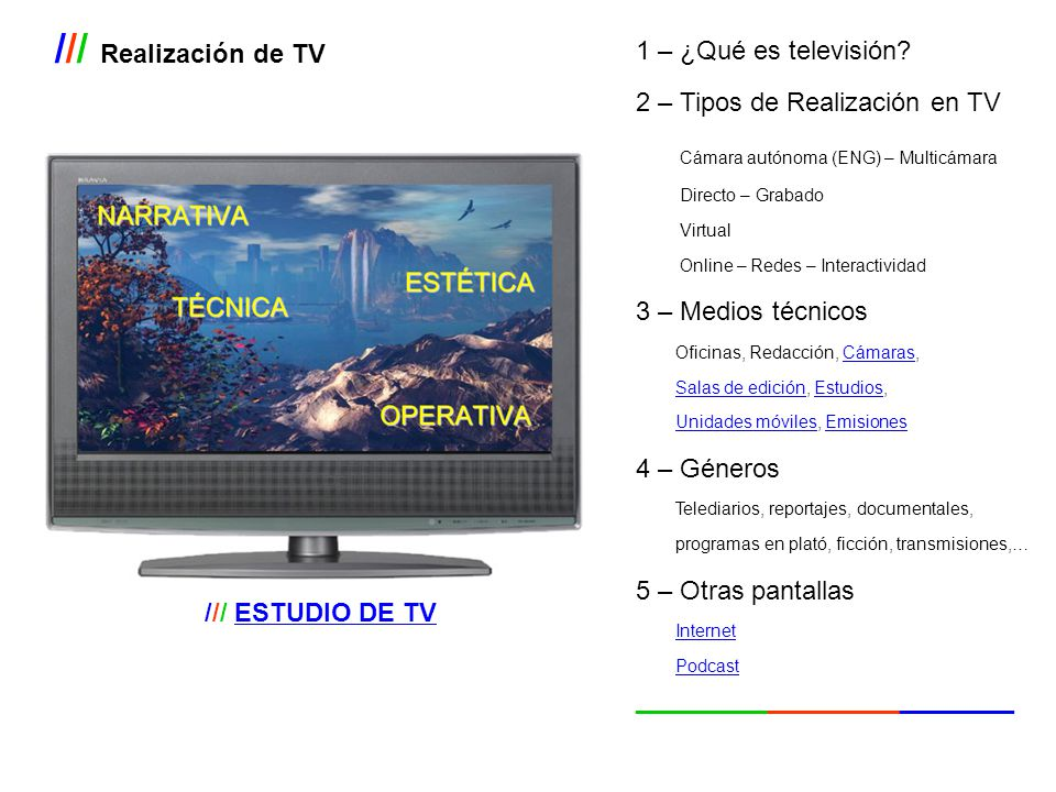 /// Realización de TV 1 – ¿Qué es televisión