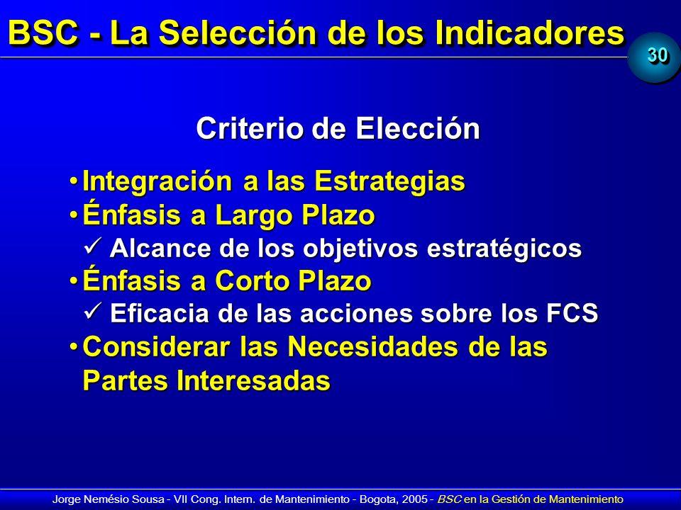 BSC - La Selección de los Indicadores
