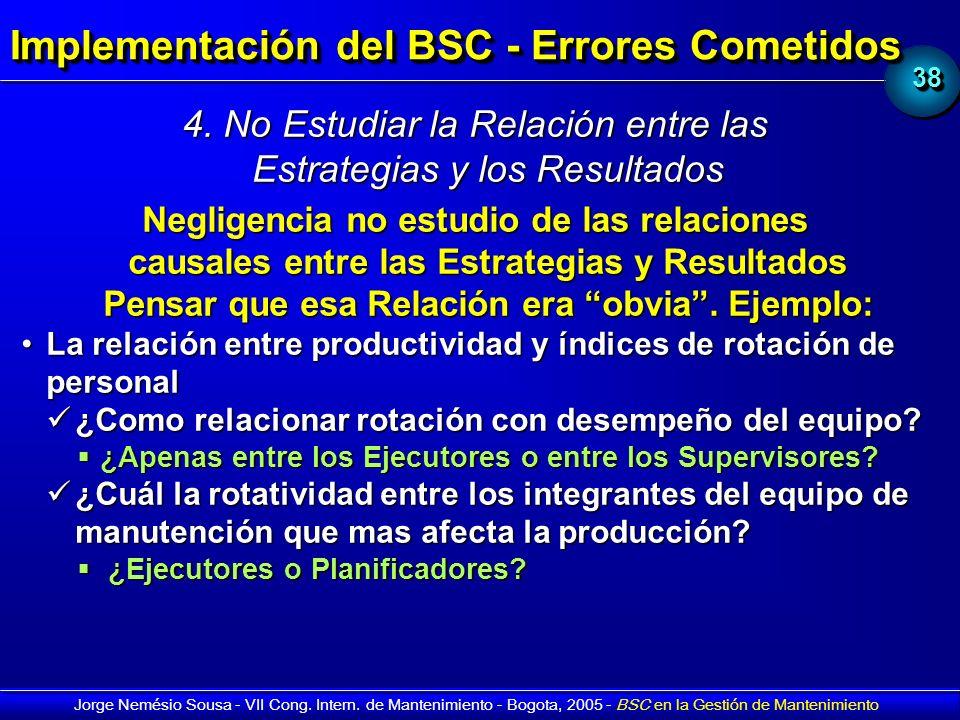 Implementación del BSC - Errores Cometidos