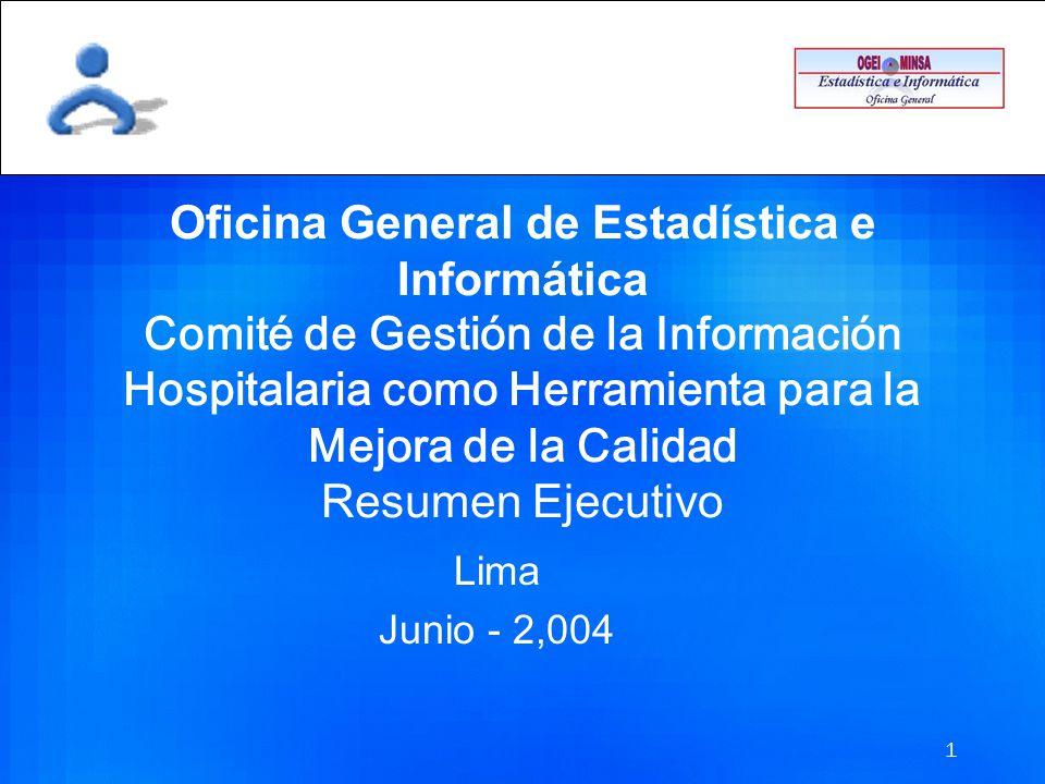 Oficina General de Estadística e Informática Comité de Gestión de la Información Hospitalaria como Herramienta para la Mejora de la Calidad Resumen Ejecutivo